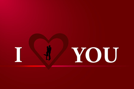 part of me: The dark red heart frame with black silhouette of couple inside is is part of the inscription I Love You. All is on a red background with light. Vectores