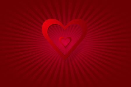the light rays: One great and one small red heart frame are in the middle of the vector. Everything is on a red background with rays of light in the middle of the vector. Illustration