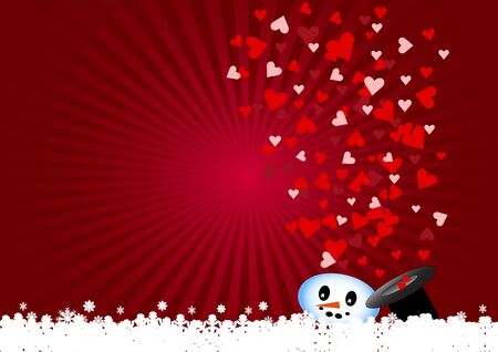 flying hat: The snowman is dissolving. The red and pink hearts are flying from his black hat. Everything is on a red background with light in the upper left corner.
