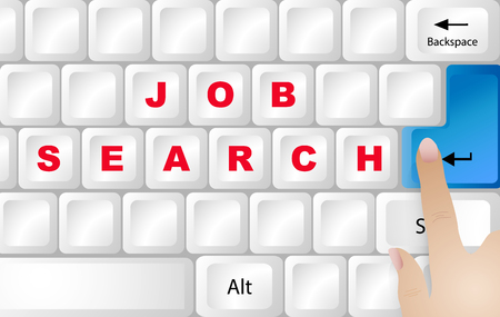 White PC keyboard with red inscription Job Searching. Finger is ready to press blue button Enter. Illustration