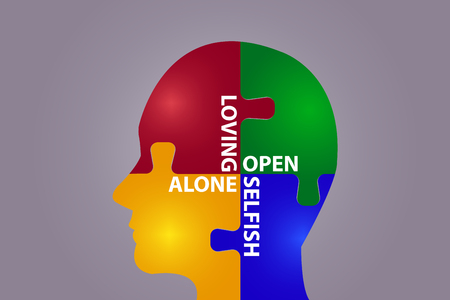 The puzzle head is showing the development of human relationships - from loneliness to loving.