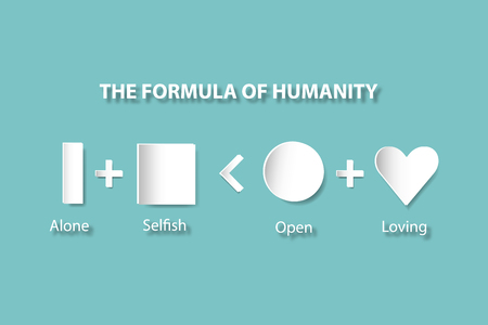 human evolution: The shapes column, prism, square, circle and heart are showing the evolution of human relationships - from loneliness to loving. All is on the trendy green background. Illustration