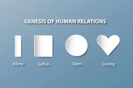 human evolution: The white shapes column, prism, square, circle and heart are showing the evolution of human relationships - from loneliness to loving. All is on the trendy blue background.
