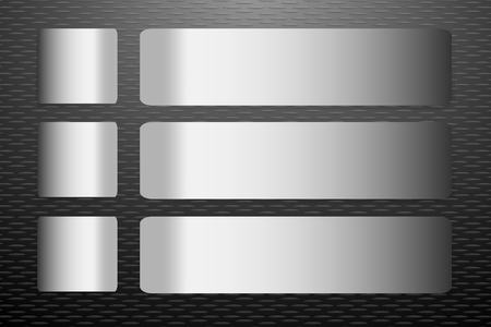 one sheet: Six stainless steel horizontal  labels vector with shadows on the trendy black embossed sheet vector background. They are next to each label one square and one rectangular in the horizontal.