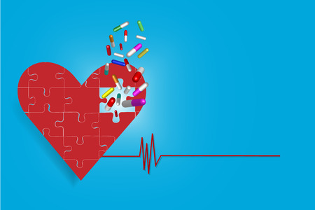 larger: One big heart of pieces of puzzle is in the left side of the vector. Larger quantities of drugs is falling into a hole in a red heart. All is on the blue gradient background with red cardiogram link symbol.