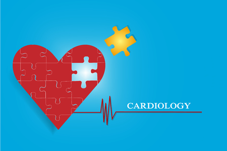 hole in one: One big heart of pieces of puzzle is in the left side of the vector. One golden piece of puzzle is flying to the the hole in the heart. All is on the blue gradient background with red cardiogram link symbol and  inscription Cardiology.