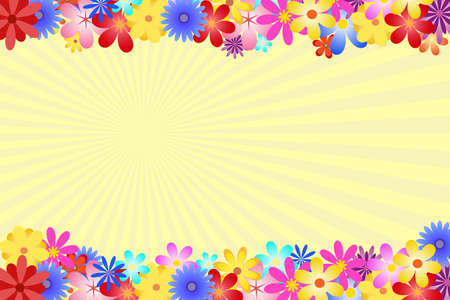 bordering: Diverse and multicolored flowers bordering the top and bottom of the vector. The background is formed by yellow rays of the sun. Illustration