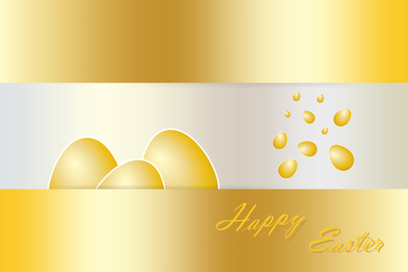 golden eggs: Three golden eggs with white borders are lying behind the golden rectangle with golden inscription Happy Easter. Another golden eggs are falling from the top. Golden rectangles are in the  in the top and in lower part of the vector