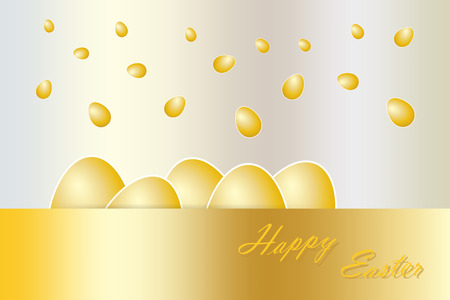 golden eggs: Five golden eggs with white borders are lying behind the golden rectangle with golden inscription Happy Easter in the lower part of the vector. Another golden eggs are falling from the top. All is on the golden gradient background.