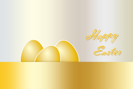 golden eggs: Three golden eggs with white borders are lying behind the golden gradient rectangle in the lower part of the vector. Golden insription Happy Easter is on the lright side. All is on the golden gradient background.