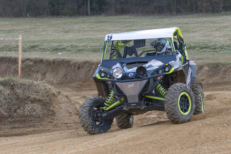off road racing: MOHELNICE,  CZECH REPUBLIC - MARCH 19: Front view of the off road car racing at OffROAD Marathon 2016 on March 19, 2016 in Mohelnice, Czech Republic.