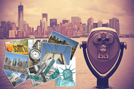 edited photo: Coin operated binocular with Lower Manhattan on the background is in the right side of the picture. Set of photos from New York City are in the left side of the picture. Photo is edited as Nashville effect picture.