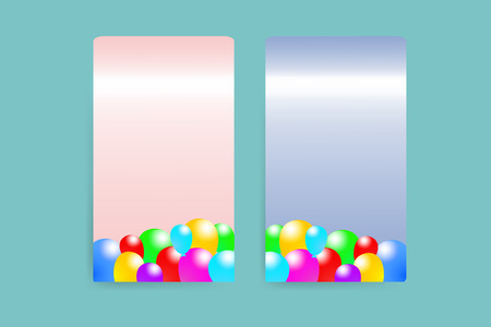 baloons: Two pink and blue paper vertically rectangles with the decor of the baloons. All is on the trendy green  background.