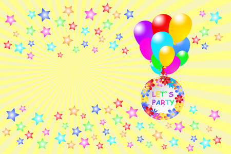 lets party: Colorful stars are at he lower edge. Colorful balloons are carrying a circle with the words Let`s Party flying over the stars. Colorful stars are on the top. All is on a yellow background with rays. Stock Photo