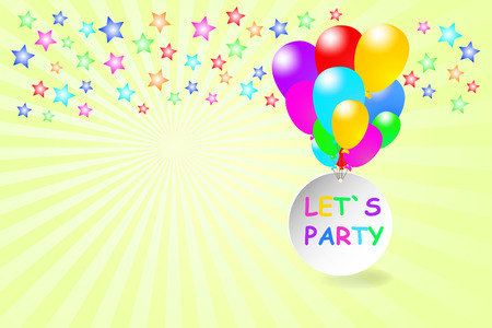 lets party: Colorful balloons are carrying a circle with the words Let`s Party flying. Colorful stars are on the top. All is on a yellow background with rays.