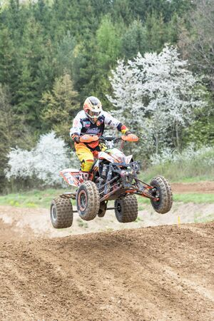 quad: MOHELNICE, CZECH REPUBLIC - APRIL 23. Quad rider in jumping  in the Crossracing cup 2016- Quad Championship of Czech Republic on April 23. 2016 in Mohelnice.
