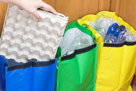 household waste: Female hand is sorting paper packaging for eggs to the blue bag. Household Waste concept. Stock Photo