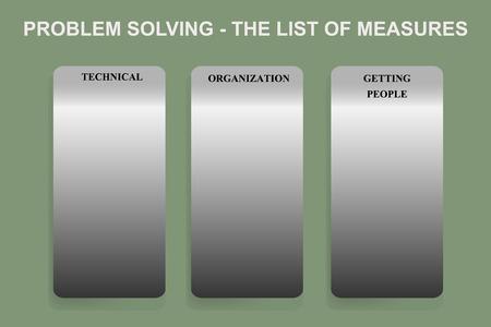 lean: Exercise sheet for method of problem solving - The list of measures in Lean Management methodology.