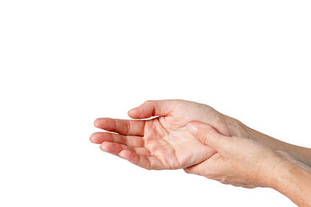 carpal tunnel: Carpal tunnel syndrome concept  isolated on the white color background.