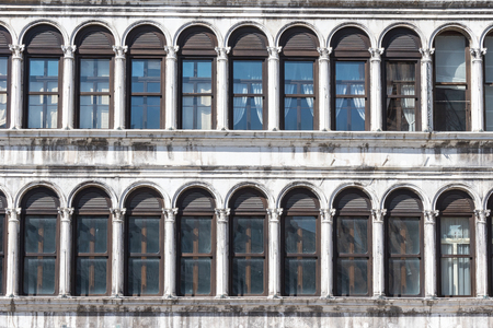 procuratie: Close up view of the old palace on the St. Marks Square in Venice (Italy) Stock Photo