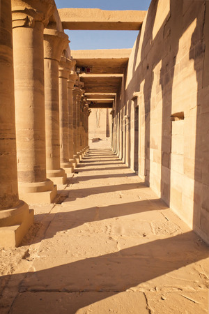 Colonnade of ancient Egyptian columns at Philae Temple (near Aswan, Egypt)