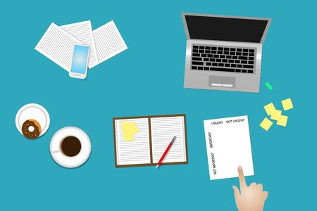 Office desk top view with supplies, coffee cup and donut. Finger is pointing paper with time management method Important and urgent. Illustration