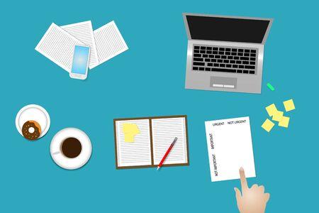 Vista de escritorio de oficina con suministros, taza de café y donut. El dedo señala el papel con el método de administración del tiempo Importante y urgente. Ilustración de vector