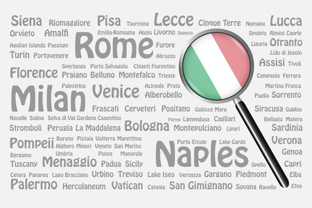 The magnifying glass with the Italian flag is on the right side of the vector. The background consists of the gray names of the best travel destinations, cities, natural monuments and landmarks of Italy.