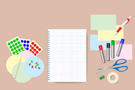 pen and marker: Blank notepad is in the middle of the vector. Education equipment is around the notepad. Free place for your text is on the blank notepad.