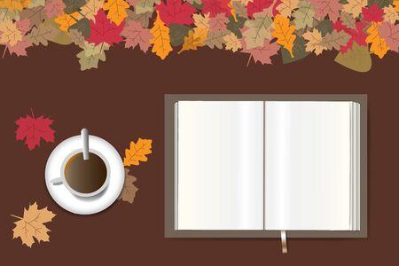 Lege open boek klaar voor uw tekst en kopje koffie liggen op een bruine houten tafel. De bovenrand vormt kleurrijke herfstbladeren. Stock Illustratie