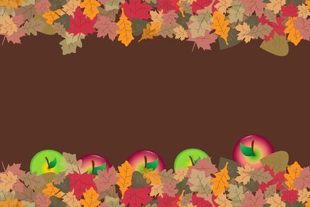 Rode en groene appels zijn gevallen in kleurrijke herfstbladeren. Plaats voor uw tekst bevindt zich in het midden van de vector.