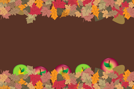 Red and green apples are fallen in colorful autumn leaves. Place for your text is in the center of the vector. Illustration