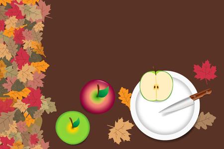 Rode en groene appels liggen op de tafel. Gesneden groene appel met mes liggen op de witte plaat. De rand vormt kleurrijke herfstbladeren. Stock Illustratie