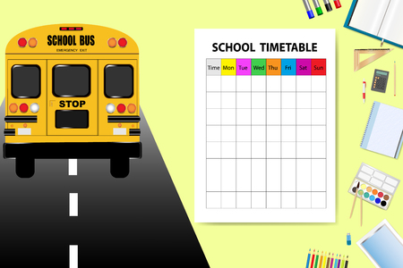 yellow notepad: School bus is driving on the road in the left side of the vector. School equipment is in the right side of the vector with empty timetable ready for your text.