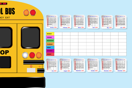 weekly: School bus in the left side of the vector with annual calendar and weekly schedule table