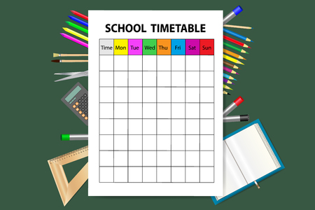 Vertically oriented vector with school timetable on the green background