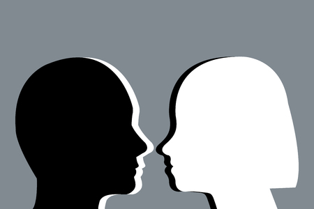Black and white head silhouettes of a men and women against each other on a gray Иллюстрация