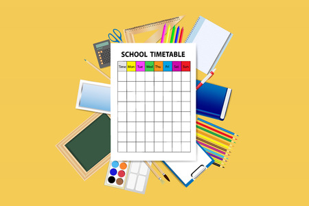 yellow notepad: School supplies around the empty school timetable on the yellow background.