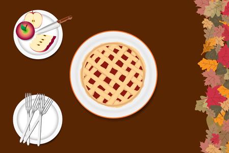 Hoogste mening van de appeltaart op een witte plaat. Gesneden appels met een mes en vorken zijn op de andere twee platen. De rechterrand van de vector is geribbeld met kleurrijke herfstbladeren. Alles staat op een bruine achtergrond. Stock Illustratie