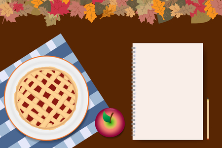 Top view of the apple pie on a white plate. Next to the apple pie is blank notepad ready for your text. The top edge of the vector is ribbed with colorful autumnal leaves. All is on a brown background.