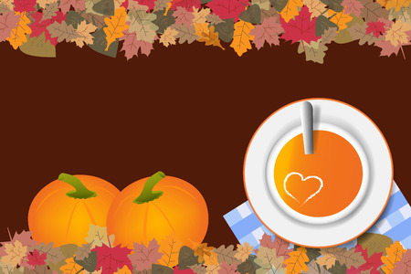 Top view of a pumpkin soup with a heart of cream in a plate on a brown background. Next to the soup are two large pumpkins. The edges of the vector are ribbed with colorful autumnal leaves.