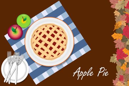 Hoogste mening van de appeltaart op een witte plaat. De rechterrand van de vector is geribbeld met kleurrijke herfstbladeren. Alles staat op een bruine achtergrond.