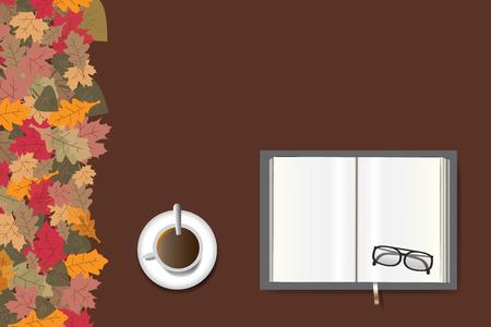 Het lege open boek klaar voor uw tekst, de glazen en de kop van koffie liggen op de bruine achtergrond. De linkerrand van de vector is bekleed met kleurrijke herfstbladeren. Stock Illustratie