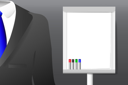 guy standing: Concept of men`s  suit with shirt and tie standing next to the empty flipchart with markers ready for your text.