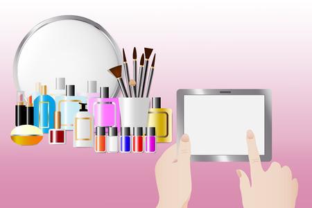 Acessórios cosméticos que estão na frente de um espelho no fundo cor-de-rosa. As mãos fêmeas estão mantendo uma tabuleta tocante com a tela vazia pronta para seu texto. Todas as marcas registradas potenciais são removidas.