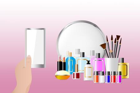 Acessórios cosméticos que estão na frente de um espelho no fundo cor-de-rosa. Feminino mão está segurando um telefone inteligente com tela vazia pronta para o seu texto. Todas as marcas registradas potenciais são removidas.