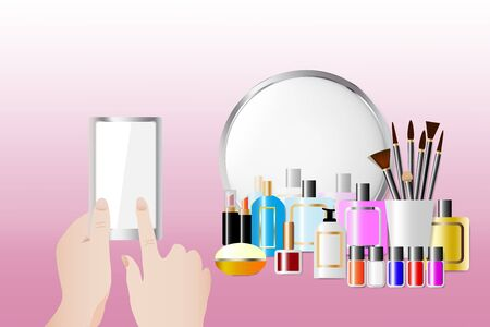 Acessórios cosméticos que estão na frente de um espelho no fundo cor-de-rosa. Mãos femininas estão segurando um telefone inteligente e tocar a tela vazia pronta para o seu texto. Todas as marcas registradas potenciais são removidas. Ilustración de vector