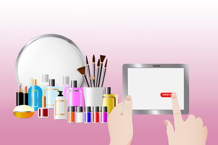Acessórios cosméticos que estão na frente de um espelho no fundo cor-de-rosa. As mãos fêmeas estão prendendo uma tabuleta e tocando no botão vermelho Peça agora. Todas as marcas registradas potenciais são removidas.