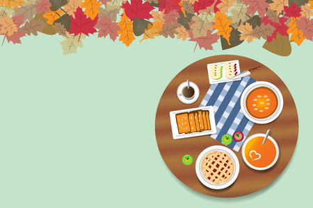 Top view on the rounded wooden table with apple pie and pumpkin menu. The top edge of the vector is ribbed with colorful autumnal leaves. Free place is ready for your text.