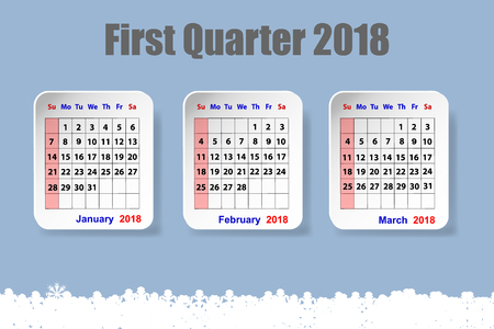 Three white paper sheets with calendar for the first quarter of the year 2018 on the trendy blue gradient background. The lower edge forms snowflakes